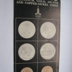 Jocurile Olimpice Moscova 1980-pliant monede aur, argint,platina, nichel, cupru