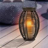 Felinar solar decorativ led imita flacara, exterior, rattan, vintage, 35 cm,