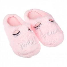 Papuci imblaniti de dama, model cu ochisori, marime 40-41, roz