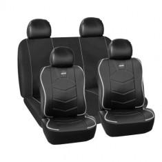 Huse scaune auto Momo piele ecologica material textil negru cu ornamente gri 11 Bucati
