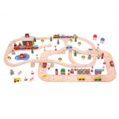 Circuit auto si feroviar (101 piese) - Orasul PlayLearn Toys, Bigjigs