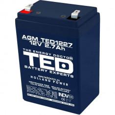 Acumulator stationar 12V 2.7Ah, Plumb Acid VRAL AGM Ted