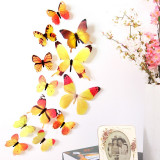 Fluturi decorativi 3D ( 12 buc/set ) galben