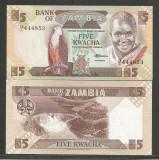 ZAMBIA   5  KWACHA  1986 / 1988   UNC  [1]  P- 25d , Semnatura 7 ,  necirculata