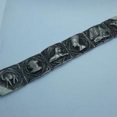 BRATARA argint EGIPT simboluri VECHI manopera EXCEPTIONALA in filigran LATA rara