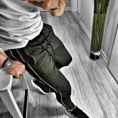 Pantaloni pentru barbati verde conici cu siret negru bumbac BB xlines