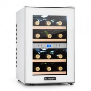 Klarstein RESERVA, frigider pentru vinuri, 34 l, 12 sticle, 2 zone de răcire, 7-18 ° C, albă