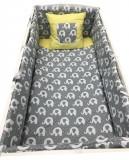Cumpara ieftin Lenjerie de pat bebelusi 120x60 cm 6 piese cu aparatori laterale pufoase si buzunar Deseda Elefantei gri