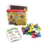 Cumpara ieftin Set cub de construit colorat din lemn Mega Creative