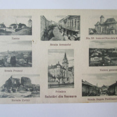 Suceava/Bucovina-colaj mozaic,carte postala necirculata anii 20, Circulata, Printata