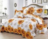 Cuvertură pat dublă, bumbac de finet, 5 piese, model Floarea Soarelui