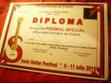 Diploma Premiul Special - Fundatia Romana de Chitara- Festival Internat.2015