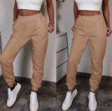 Pantaloni dama lungi de tip jogger din bumbac crem cu elastic si buzunare