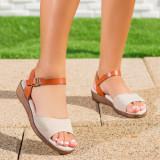 Sandale dama cu talpa ortopedica bej Reslia
