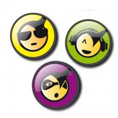 Set 3 insigne pentru ghiozdan roller - Emoticonos Cool | Vector International