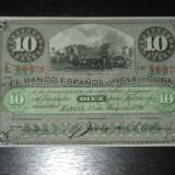 Bancnota 10 peso Cuba 1896, stare foarte buna