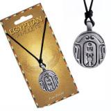 Colier - șnur negru, pandantiv din metal, amuletă egipteană, ovală