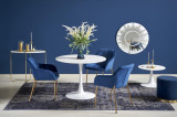 Cumpara ieftin Set masa din MDF si metal Slim Alb + 3 scaune tapitate cu stofa K306 Albastru inchis / Auriu, Ø100xH75 cm