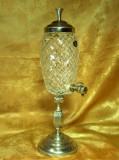 Carafa decantor, lichior, tarie, cristal, crom, colectie cadou vintage