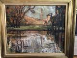 Pictura,tablou vechi francez,pictura in ulei pe panza