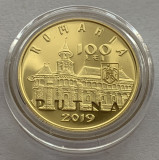 100 Lei 2019 AUR, PROOF, Romania, cu certificat BNR, 550 Ani Manastirea Putna