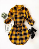 Cumpara ieftin Rochie ieftina casual stil camasa galbena si neagra cu carouri si cordon in talie