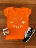 Tricou dama ieftin din bumbac portocaliu cu imprimeu Let's Travel