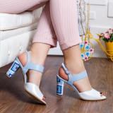 Sandale dama cu toc piele naturala albe cu albastru Rupasi