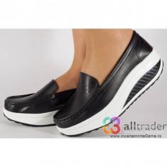 Pantofi negri talpa convexa piele naturala (cod AC020-33)