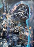 Inger albastru pictura onirica spiritualitate 60x80cm KLOSKA, Religie, Acrilic, Abstract, General