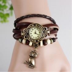 Ceas de dama Retro Vintage, curea din piele, culoare Maro