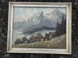 Tablou,pictura germana in ulei pe lemn,peisaj montan,rama din lemn