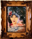 Gobelen - Apus -Rama Blondel sticla - tablou manufactura - pas mic