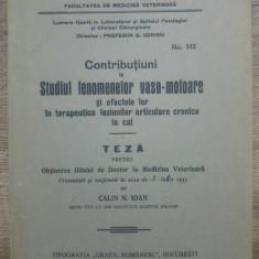 Studiul fenomenelor vaso-motoare in terapeutica leziunilor la cal/ 1933