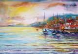Tablou peisaj marin la apus, Marine, Acuarela, Impresionism