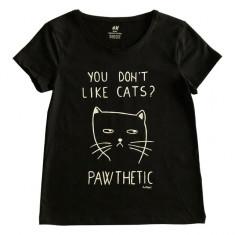 Tricou pentru fete pictat manual cu Pisica Pawthetic