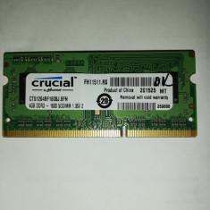 Memorie Sodimm CRUCIAL 4Gb DDR3 1600Mhz PC3L-12800, 1.35v , CT51264BF160BJ.8FN