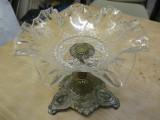 Fructiera sticla si bronz