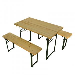 Set masa si bancute pentru gradina Mobilaiud, 110 x 50 cm, lemn