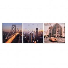 Ceas decorativ tip tablou, 30 x 90 cm, model New York