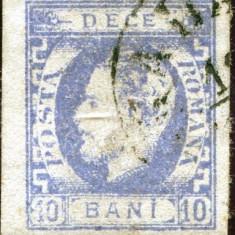 1872 , ROMANIA , CAROL I CU BARBA IMPR. DEFECTUOASA , 10 BANI ULTRAMARIN - STAMP