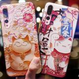 Husa de telefon cu pisicuta care aduce noroc, pentru Huawei P9/p10/p20/p20lite/p10plus