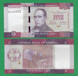 = LIBERIA - 5 DOLLARS - 2016 - UNC =