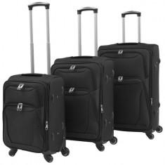 Set de valize din material textil, 3 piese, negru