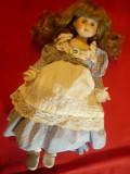 Papusa de Colectie- cap, maini , picioare portelan ,h=36cm, trandafir in piept