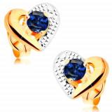 Cercei din aur 585 - contur bicolor de inimă, gravuri, safir albastru