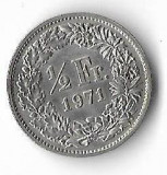 Moneda 1/2 franc 1971 - Elvetia, Europa