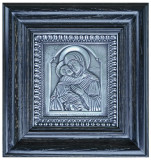 Icoane argintate, Icoana Maica Domnului din Vladimir, dim 21cm x 23cm, cod B-04