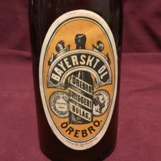 Vintage - Sticla veche de bere cu eticheta si dop ceramic / Bayerskt ol !