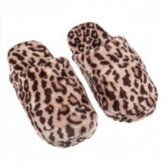 Papuci imblaniti de dama, model leopard, marime 37-38